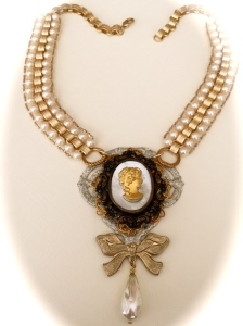 Vintage Pearl Cameo Choker Necklace Irene Hoffman, Heart's Dezire